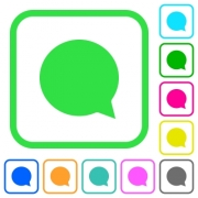 Blank chat bubble vivid colored flat icons in curved borders on white background - Blank chat bubble vivid colored flat icons