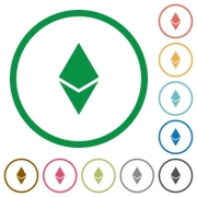 Ethereum digital cryptocurrency flat color icons in round outlines on white background - Ethereum digital cryptocurrency flat icons with outlines
