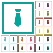 Tie flat color icons with quadrant frames on white background - Tie flat color icons with quadrant frames