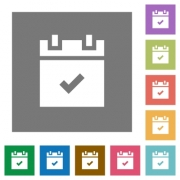 Schedule done flat icons on simple color square backgrounds - Schedule done square flat icons