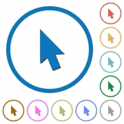 Mouse cursor flat color vector icons with shadows in round outlines on white background - Mouse cursor icons with shadows and outlines