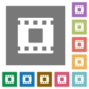 Movie stop flat icons on simple color square backgrounds - Movie stop square flat icons