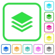 Layers vivid colored flat icons in curved borders on white background - Layers vivid colored flat icons