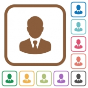 Businessman avatar simple icons in color rounded square frames on white background - Businessman avatar simple icons