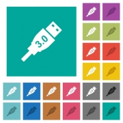 High speed USB multi colored flat icons on plain square backgrounds. Included white and darker icon variations for hover or active effects. - High speed USB square flat multi colored icons