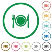 Dinner flat color icons in round outlines on white background - Dinner flat icons with outlines