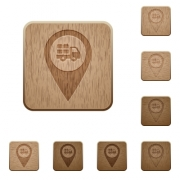 Transport service GPS map location on rounded square carved wooden button styles - Transport service GPS map location wooden buttons