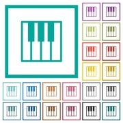 Piano keyboard flat color icons with quadrant frames on white background - Piano keyboard flat color icons with quadrant frames