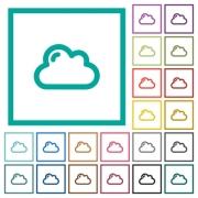 Single cloud flat color icons with quadrant frames on white background - Single cloud flat color icons with quadrant frames