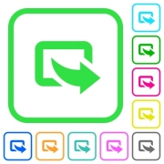 Export symbol with bottom right arrow vivid colored flat icons in curved borders on white background - Export symbol with bottom right arrow vivid colored flat icons