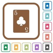 five of clubs card simple icons in color rounded square frames on white background - five of clubs card simple icons
