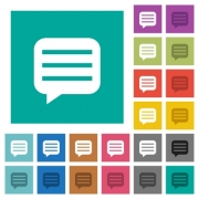 Message box with rows multi colored flat icons on plain square backgrounds. Included white and darker icon variations for hover or active effects. - Message box with rows square flat multi colored icons
