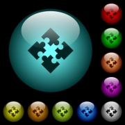 Modules icons in color illuminated spherical glass buttons on black background. Can be used to black or dark templates - Modules icons in color illuminated glass buttons