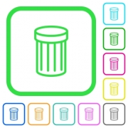 Recycle bin vivid colored flat icons in curved borders on white background - Recycle bin vivid colored flat icons