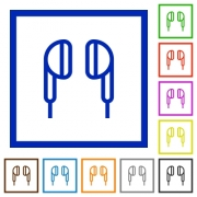 Earphone flat color icons in square frames on white background - Earphone flat framed icons