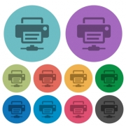 Network printer darker flat icons on color round background - Network printer color darker flat icons