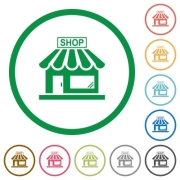 Store front flat color icons in round outlines on white background - Store front flat icons with outlines
