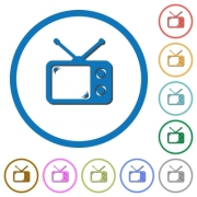Vintage retro television flat color vector icons with shadows in round outlines on white background - Vintage retro television icons with shadows and outlines
