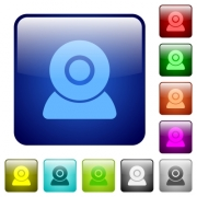 Webcam icons icons in rounded square color glossy button set - Webcam icons color square buttons