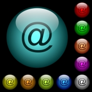 Single email symbol icons in color illuminated spherical glass buttons on black background. Can be used to black or dark templates - Single email symbol icons in color illuminated glass buttons