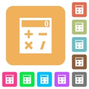 Pocket calculator flat icons on rounded square vivid color backgrounds. - Pocket calculator rounded square flat icons