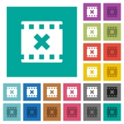 Movie cancel multi colored flat icons on plain square backgrounds. Included white and darker icon variations for hover or active effects. - Movie cancel square flat multi colored icons