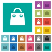 Shopping bag multi colored flat icons on plain square backgrounds. Included white and darker icon variations for hover or active effects. - Shopping bag square flat multi colored icons