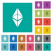 Ethereum classic digital cryptocurrency multi colored flat icons on plain square backgrounds. Included white and darker icon variations for hover or active effects. - Ethereum classic digital cryptocurrency square flat multi colored icons