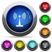 Wlan network icons in round glossy buttons with steel frames - Wlan network round glossy buttons