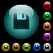 Save data icons in color illuminated spherical glass buttons on black background. Can be used to black or dark templates - Save data icons in color illuminated glass buttons