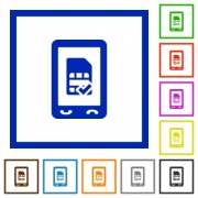 Mobile simcard accepted flat color icons in square frames on white background - Mobile simcard accepted flat framed icons