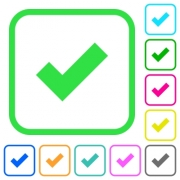 Ok vivid colored flat icons in curved borders on white background - Ok vivid colored flat icons