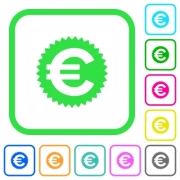 Euro sticker vivid colored flat icons in curved borders on white background - Euro sticker vivid colored flat icons