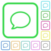 Empty comment bubble vivid colored flat icons in curved borders on white background - Empty comment bubble vivid colored flat icons
