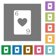 Six of hearts card flat icons on simple color square backgrounds - Six of hearts card square flat icons