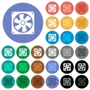 Computer fan multi colored flat icons on round backgrounds. Included white, light and dark icon variations for hover and active status effects, and bonus shades on black backgounds. - Computer fan round flat multi colored icons