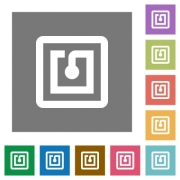 NFC sticker flat icons on simple color square backgrounds - NFC sticker square flat icons