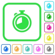 Timer vivid colored flat icons in curved borders on white background - Timer vivid colored flat icons