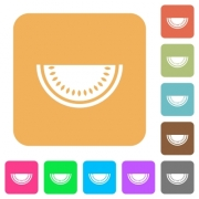 Slice of watermelon flat icons on rounded square vivid color backgrounds. - Slice of watermelon rounded square flat icons