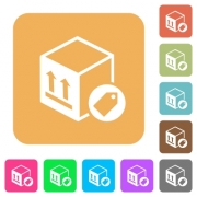 Package labeling flat icons on rounded square vivid color backgrounds.