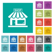 Store front multi colored flat icons on plain square backgrounds. Included white and darker icon variations for hover or active effects. - Store front square flat multi colored icons