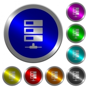 Data network icons on round luminous coin-like color steel buttons - Data network luminous coin-like round color buttons