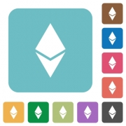 Ethereum digital cryptocurrency white flat icons on color rounded square backgrounds - Ethereum digital cryptocurrency rounded square flat icons