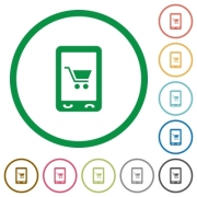 Mobile shopping flat color icons in round outlines on white background - Mobile shopping flat icons with outlines