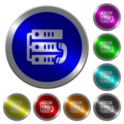 VoIP call icons on round luminous coin-like color steel buttons - VoIP call luminous coin-like round color buttons