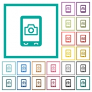Mobile photography flat color icons with quadrant frames on white background - Mobile photography flat color icons with quadrant frames
