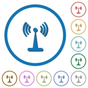 Wlan network flat color vector icons with shadows in round outlines on white background - Wlan network icons with shadows and outlines