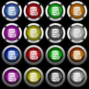 Database options white icons in round glossy buttons with steel frames on black background. The buttons are in two different styles and eight colors. - Database options white icons in round glossy buttons on black background