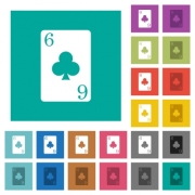 Six of clubs card multi colored flat icons on plain square backgrounds. Included white and darker icon variations for hover or active effects. - Six of clubs card square flat multi colored icons