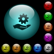 Maintenance service icons in color illuminated spherical glass buttons on black background. Can be used to black or dark templates - Maintenance service icons in color illuminated glass buttons